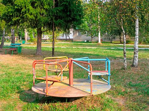 Old wooden merry-go-round