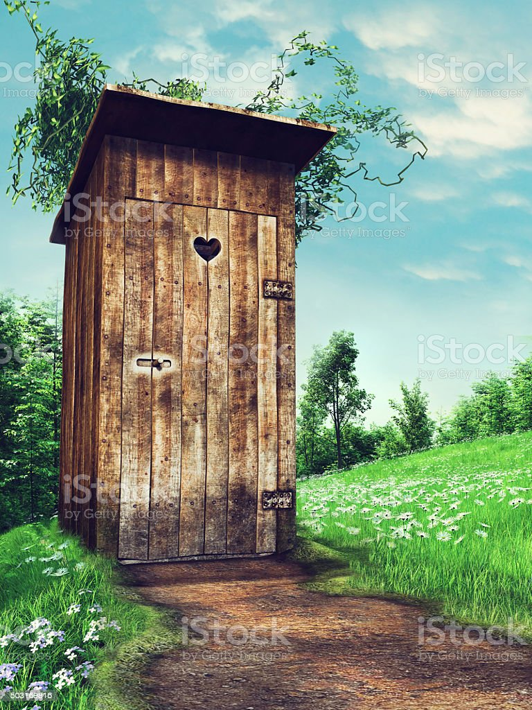 Old wooden outhouse stock photo