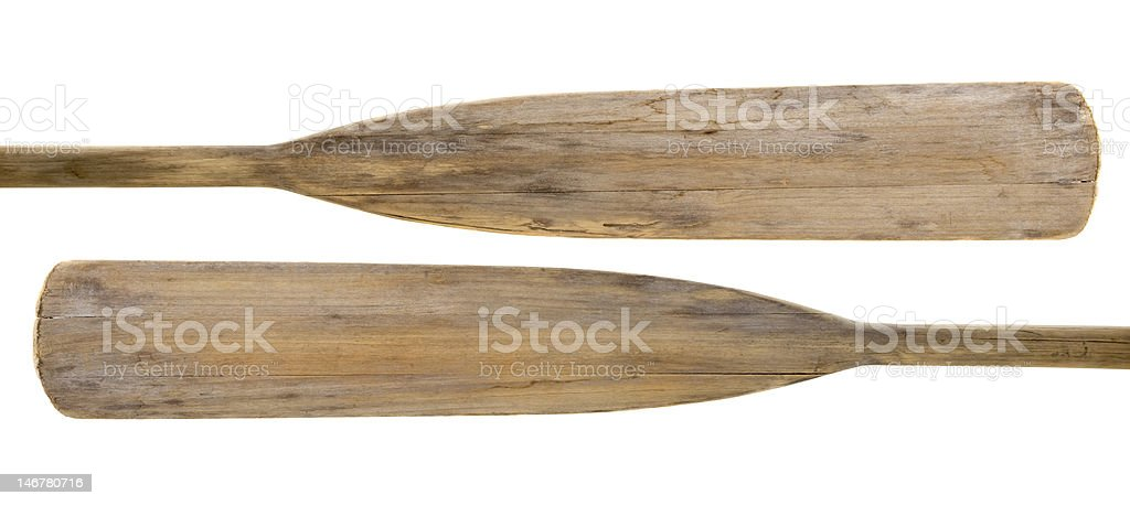old wooden paddles stock photo