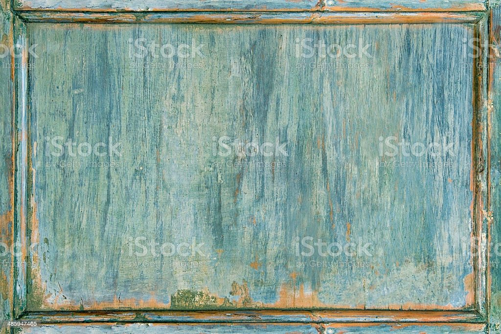 Old wooden painted green frame stock photo
