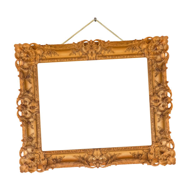 Old wooden picture frame hanging on a rope stock photo