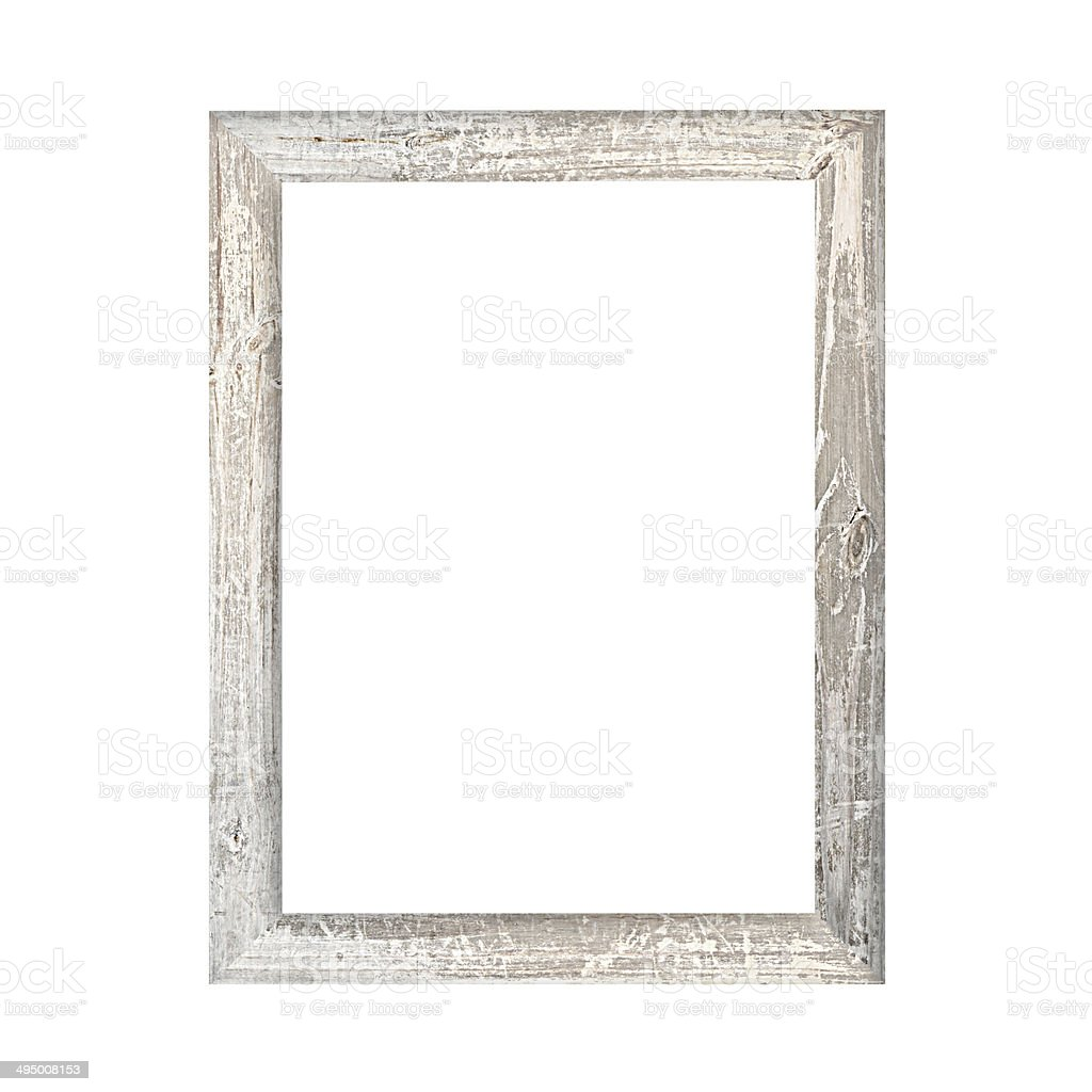 Old wooden picture frame isolated on white background​​​ foto