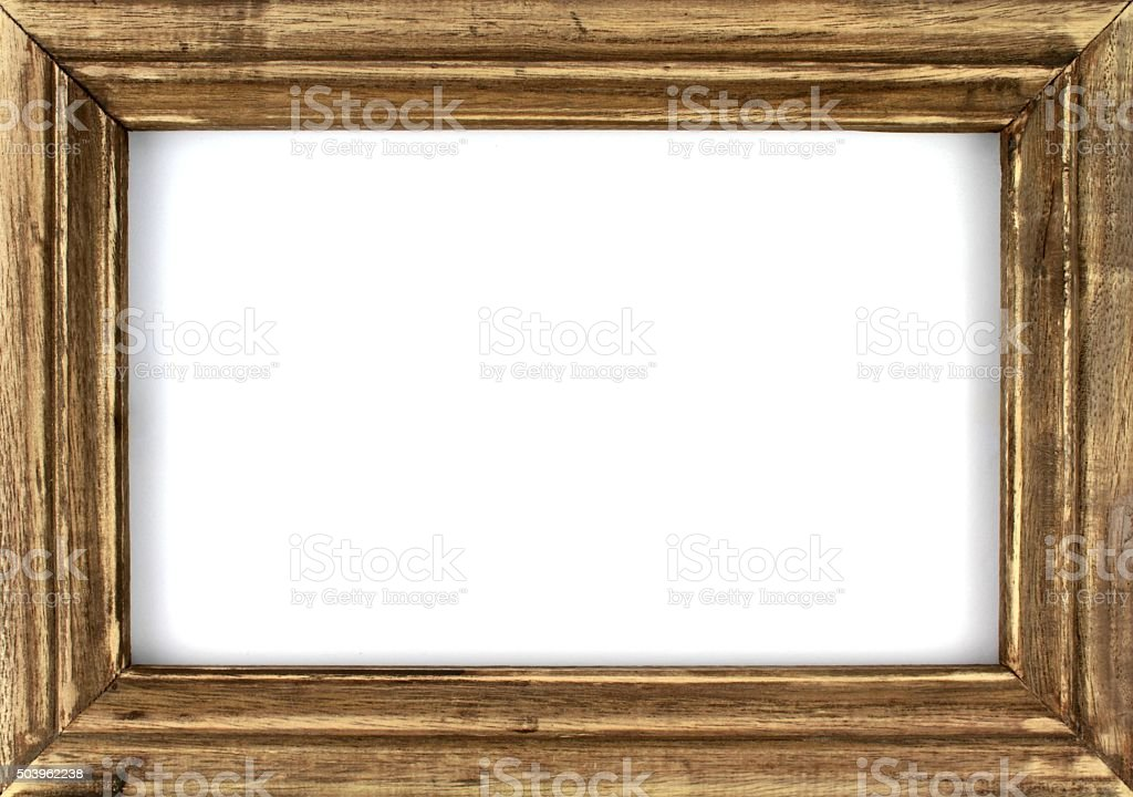 Old wooden picture frame stock photo