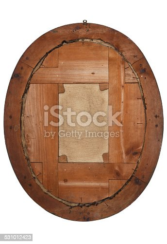 istock old wooden picture frame view from behind 531012423