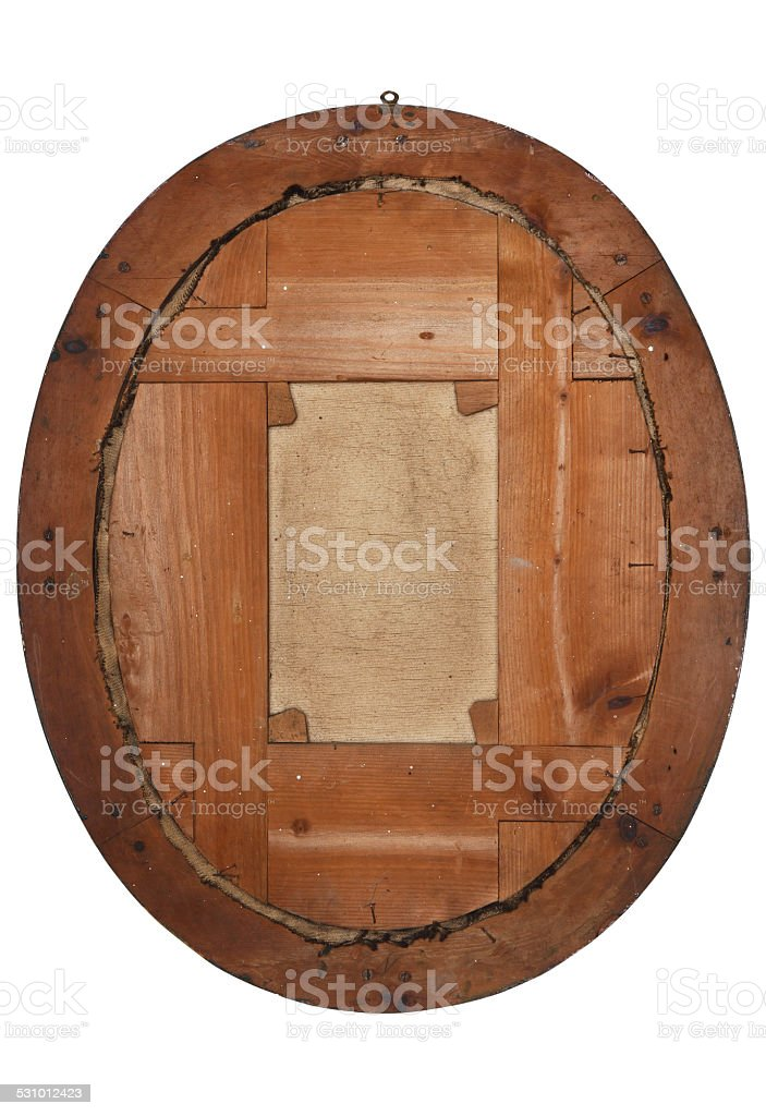 old wooden picture frame view from behind stock photo