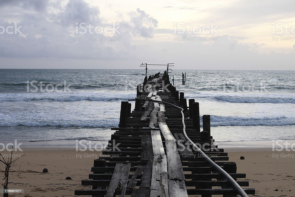old wooden pier at PhangNga royalty-free stock photo