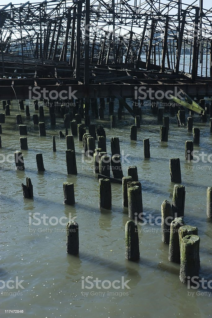 A old wooden pier on the riverside in New York stock photo