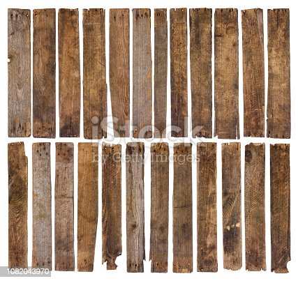 Old wooden planks isolated on white background. Set of 24 unique short rustic weathered wood plank, sharp and highly detailed for design.