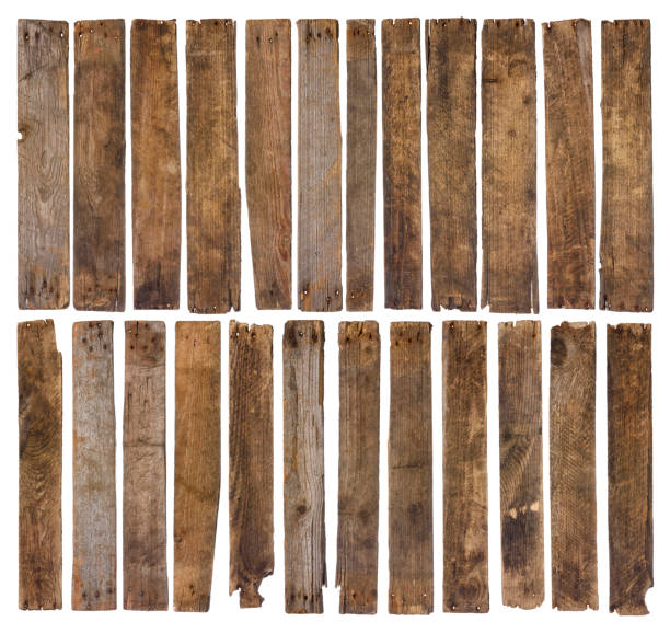 old wooden planks isolated on white background - deska zdjęcia i obrazy z banku zdjęć