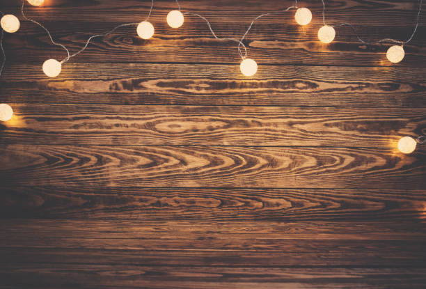 Old wooden planks with christmas decoration stock photo