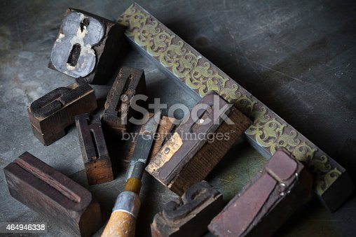 istock Old wooden printing press letters 464946338