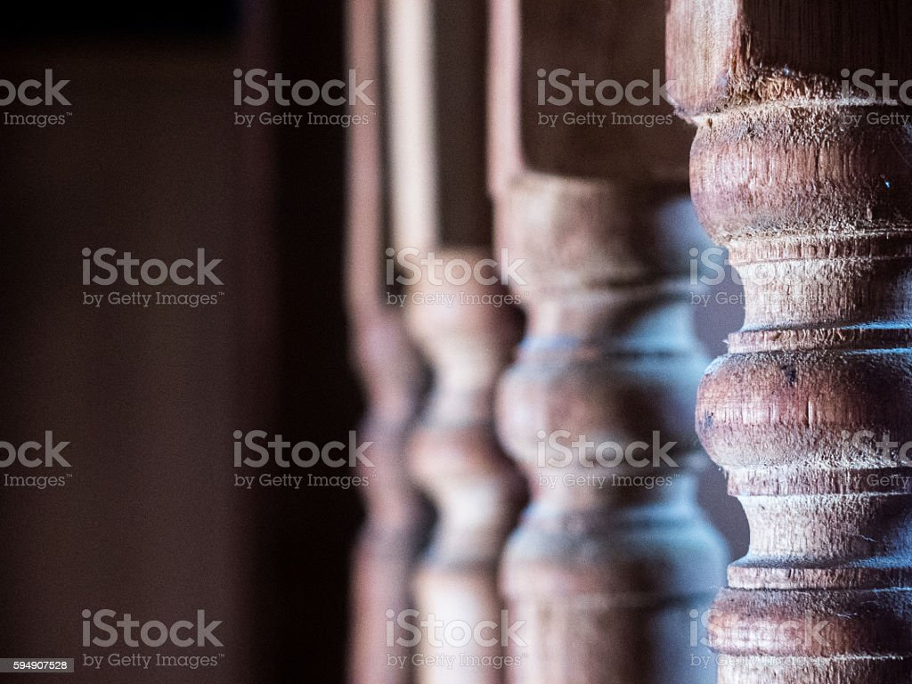 Old Wooden Railing Spindles Stair Staircase Abstract stock photo