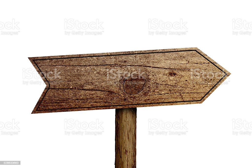 Old Wooden Road Sign stock photo
