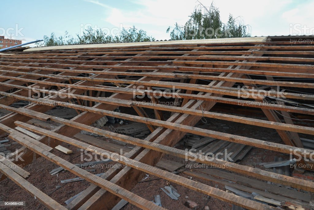 Old Wooden Roof Under Repair Roofing Dismantling And Renovation Stock Photo Download Image Now