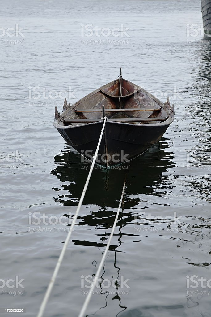 Old wooden rowboat. royalty-free stock photo