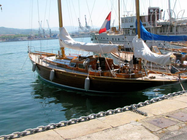Old Wooden Sailing Yacht Moored In Marina Stock Photo Download