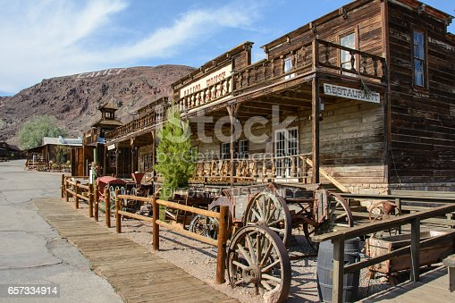 Calico, California, USA - July 2, 2015: The old wooden saloon in the ghost town of Calico