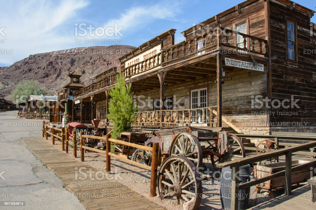 Old wooden saloon in the ghost town of Calico, California stock photo