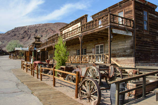 old wooden saloon in the ghost town of calico, california - western town stock photos and pictures