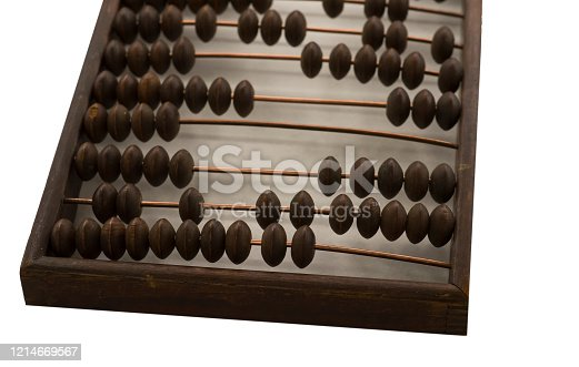 istock Old wooden scores. close-up abacus . Abacus on light and brown background. Concept of savings, counting. Accounting and Budget Concept 1214669567