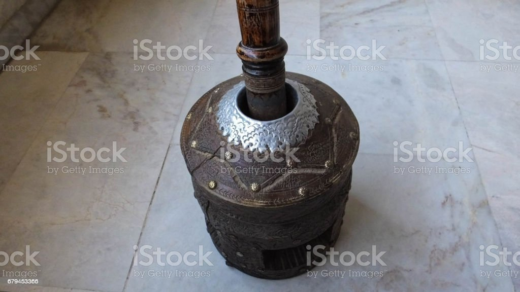 Old wooden seed crusher and churner . royalty-free stock photo