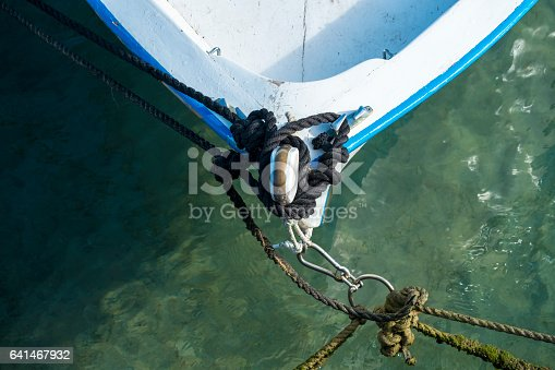istock Old wooden shabby fishing boat 641467932