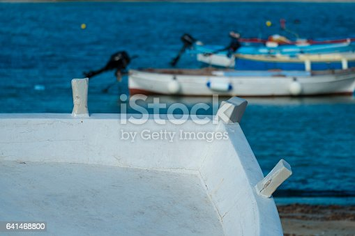 istock Old wooden shabby fishing boat 641468800