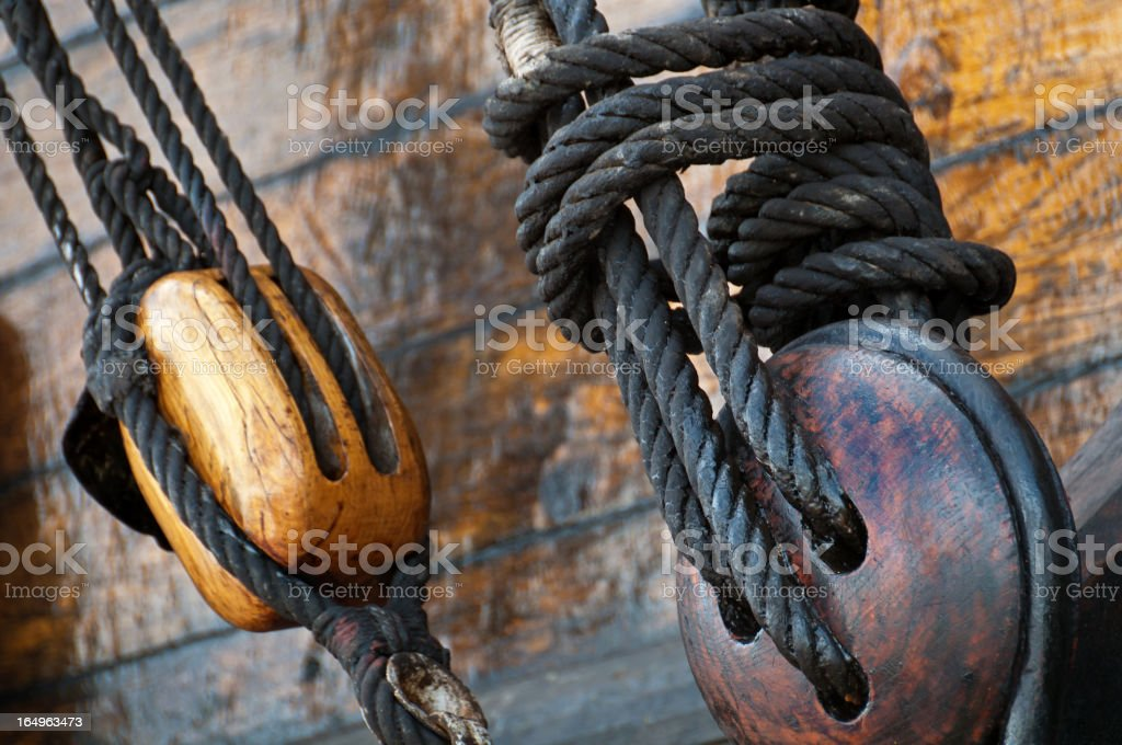 Old wooden ship details royalty-free stock photo