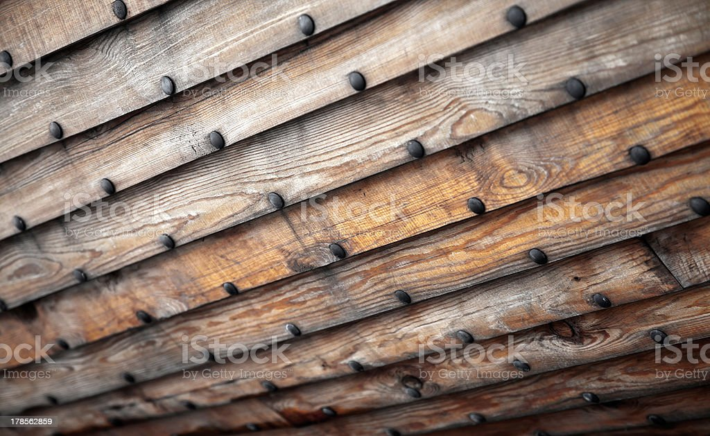 Old wooden ship hull texture stock photo