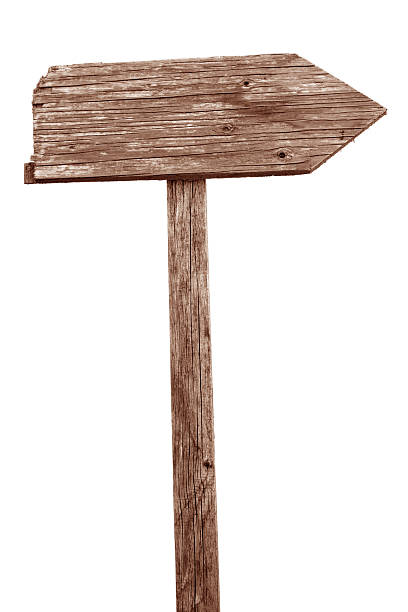 old wooden sign - directional sign stock photos and pictures