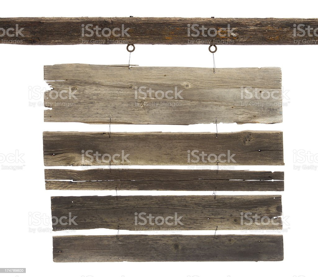 Old wooden sign-multiple boards for text/isolated on white stock photo