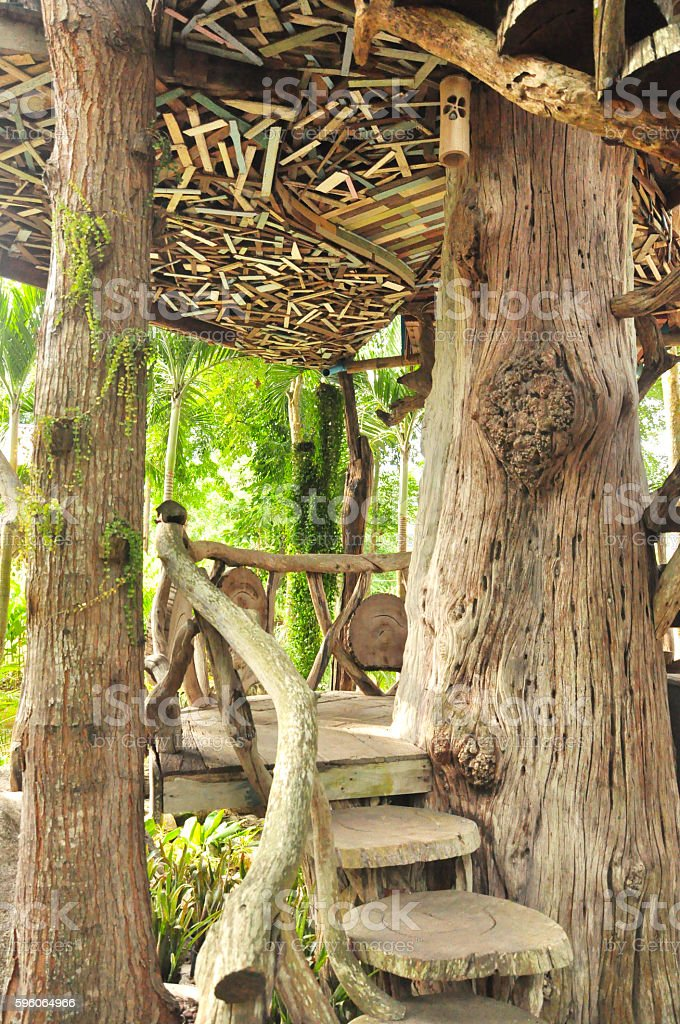 old wooden stairs for walkway raise up to tree house royalty-free stock photo