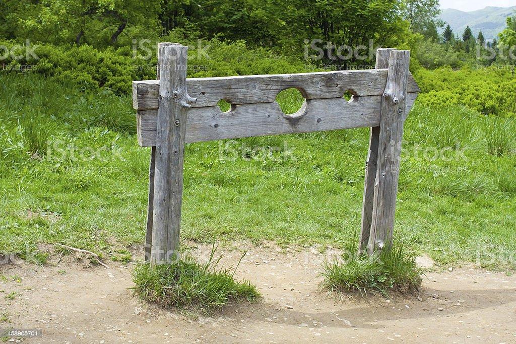old wooden stocks stock photo