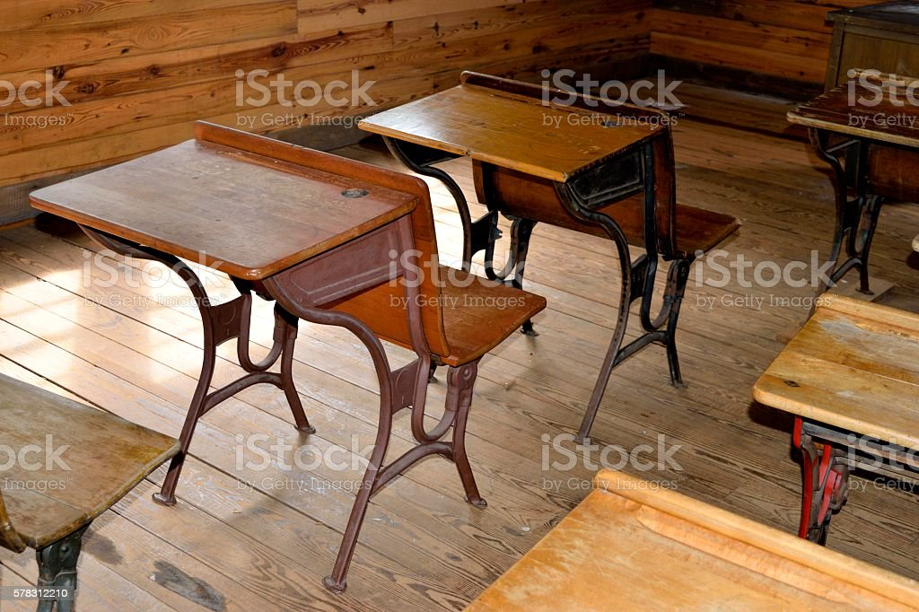 Old Wooden Student Desk Royalty Free Stock Photo