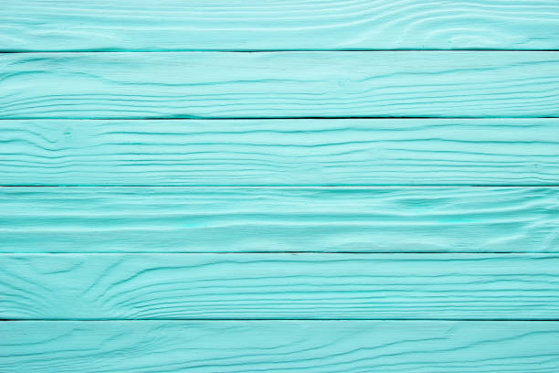 Old wooden table, blue surface of painted wood. Antique texture, background stock photo