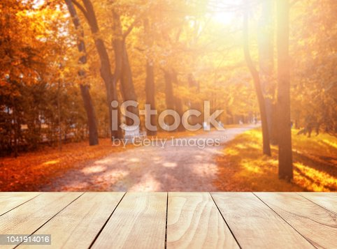 989111446 istock photo Old wooden table top with leaves falling in forest 1041914016