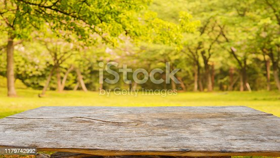 Old wooden table with blur abstract background of autumn forest