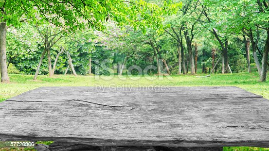 1048926386istockphoto Old wooden table with spring green forest background 1157726306
