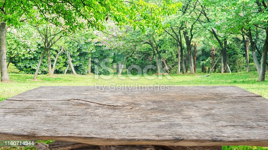 1048926386istockphoto Old wooden table with spring green garden background 1160714344