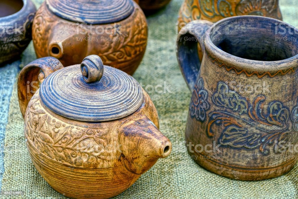 old wooden tableware on the table stock photo