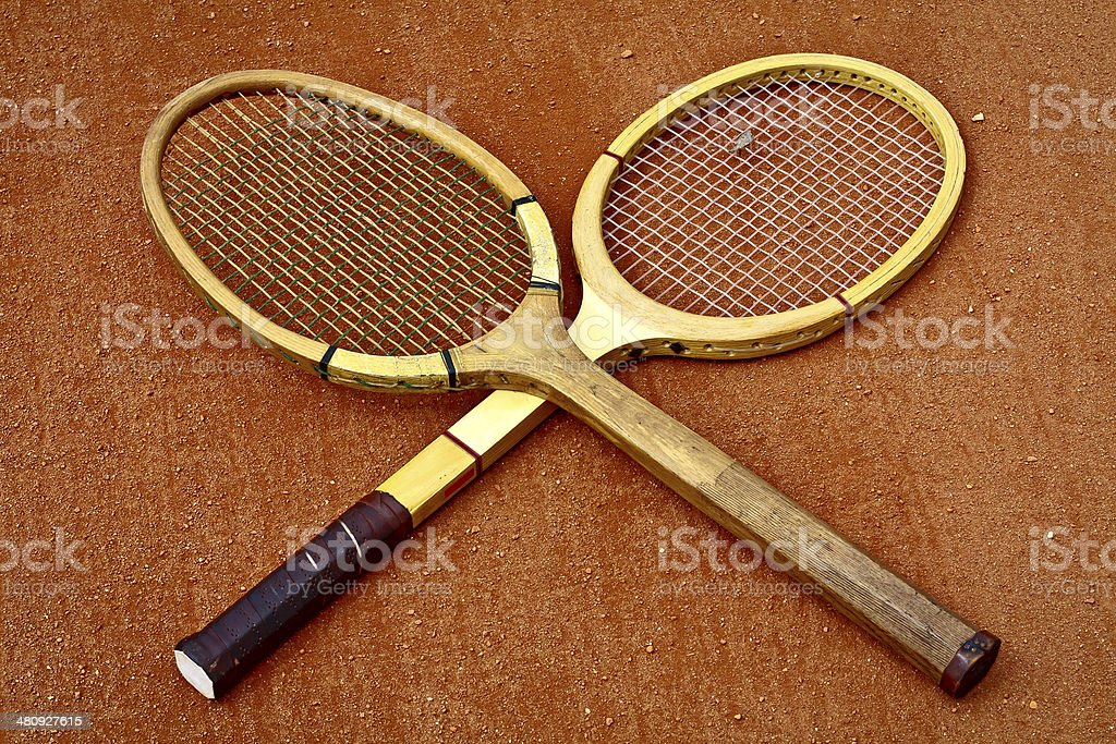 Old Wooden tennis rackets stock photo