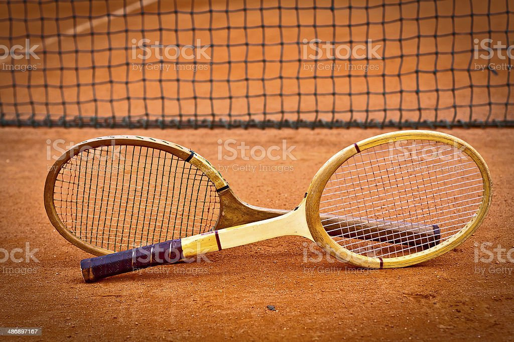 Old Wooden tennis rackets royalty-free stock photo