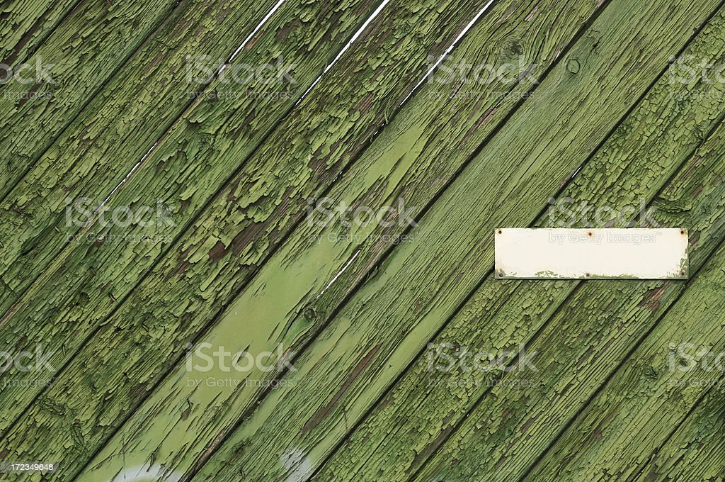 Old Wooden Texture with Blank Metallic Plate royalty-free stock photo
