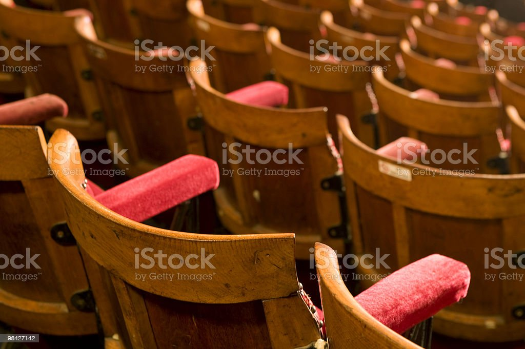 Old wooden theatre seating. royalty-free stock photo