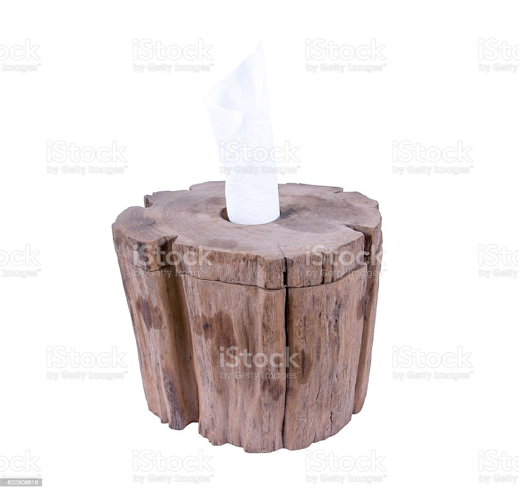 Old wooden tissue box made from timber isolated on white stock photo