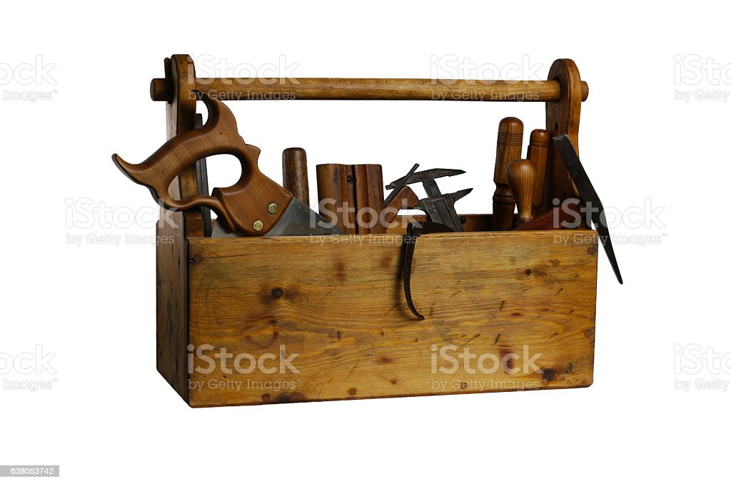 Old Wooden Tool Box Full of Tools Isolated stock photo