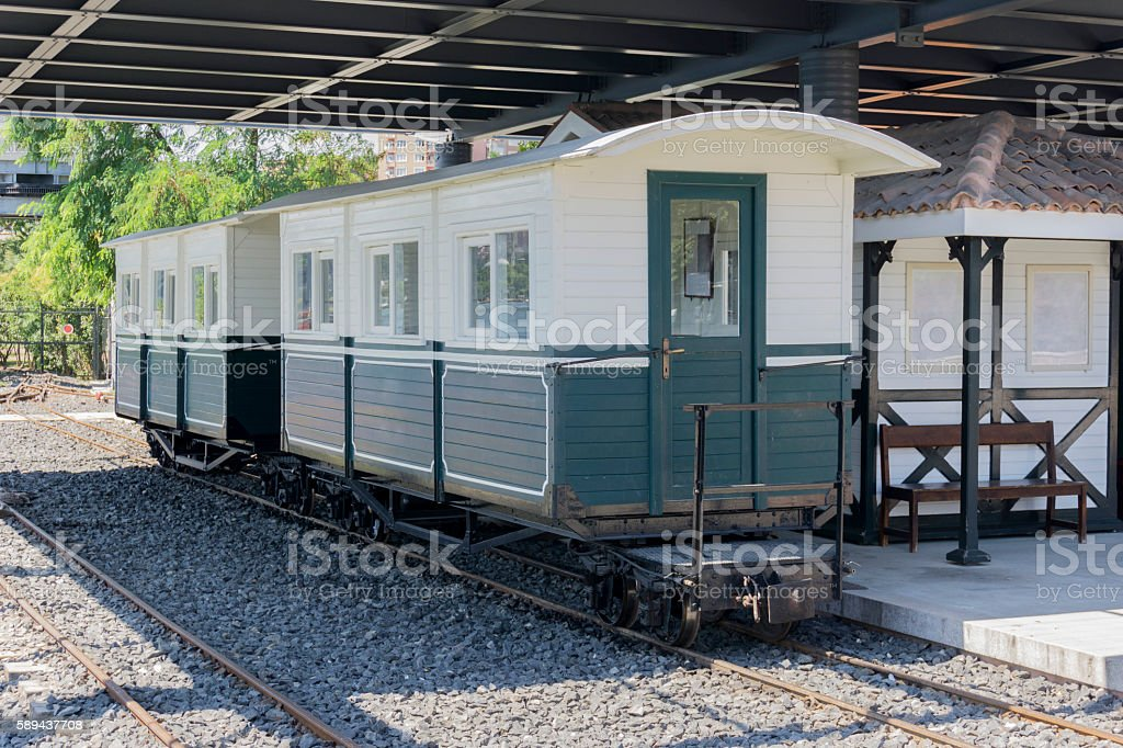 Old wooden train wagon stock photo