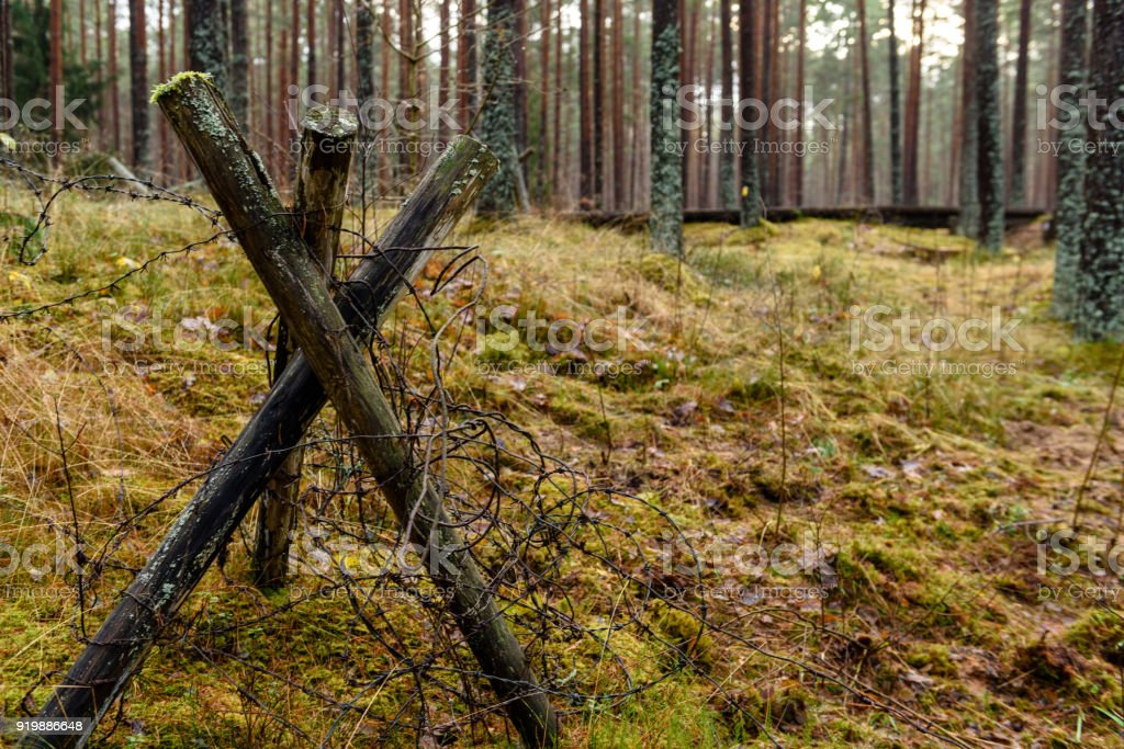 old wooden trenshes in Latvia stock photo