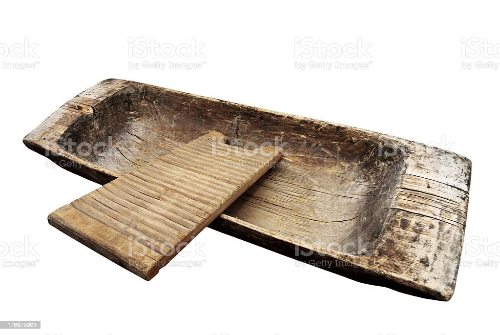 old wooden trough and washboard on a white royalty-free stock photo