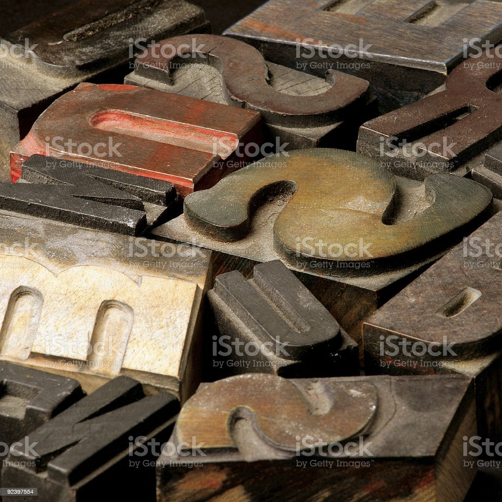 Old wooden type letters royalty-free stock photo